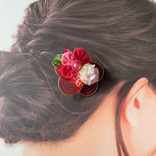 和風☆水引(RE)とピンクのつまみ細工のお花のヘアクリップ:F 1点   ベビークリップ 髪飾り ヘアアクセサリー 七五三 浴衣