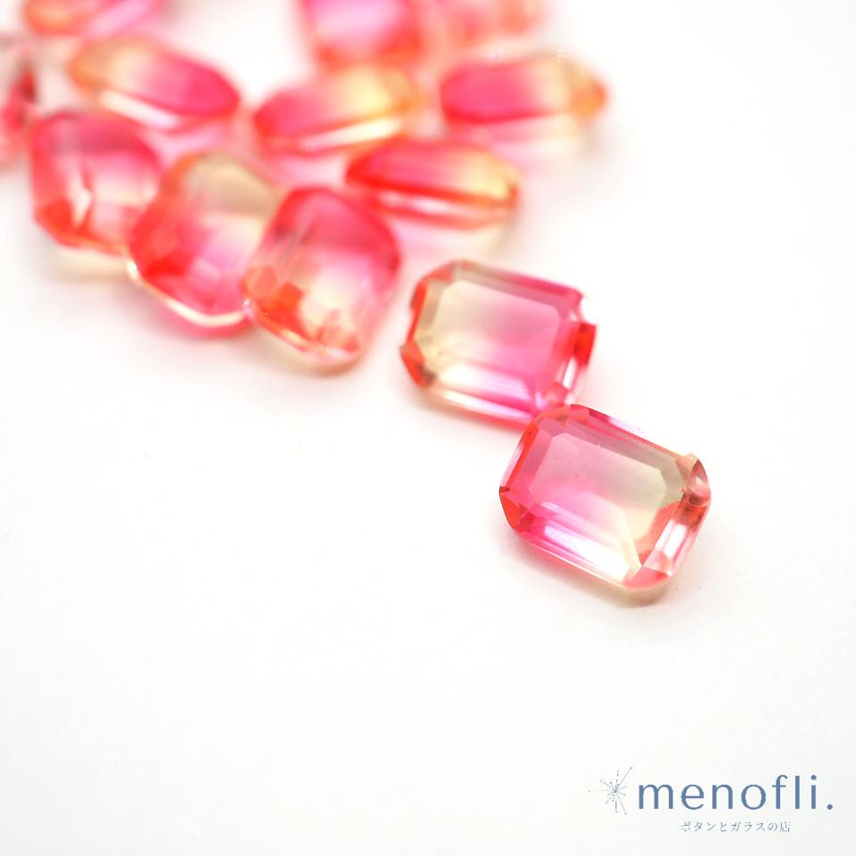 1pc 長方形 グラデーション ピンク・イエロー 8*6 チャイナガラス ラインストーン グラスストーン