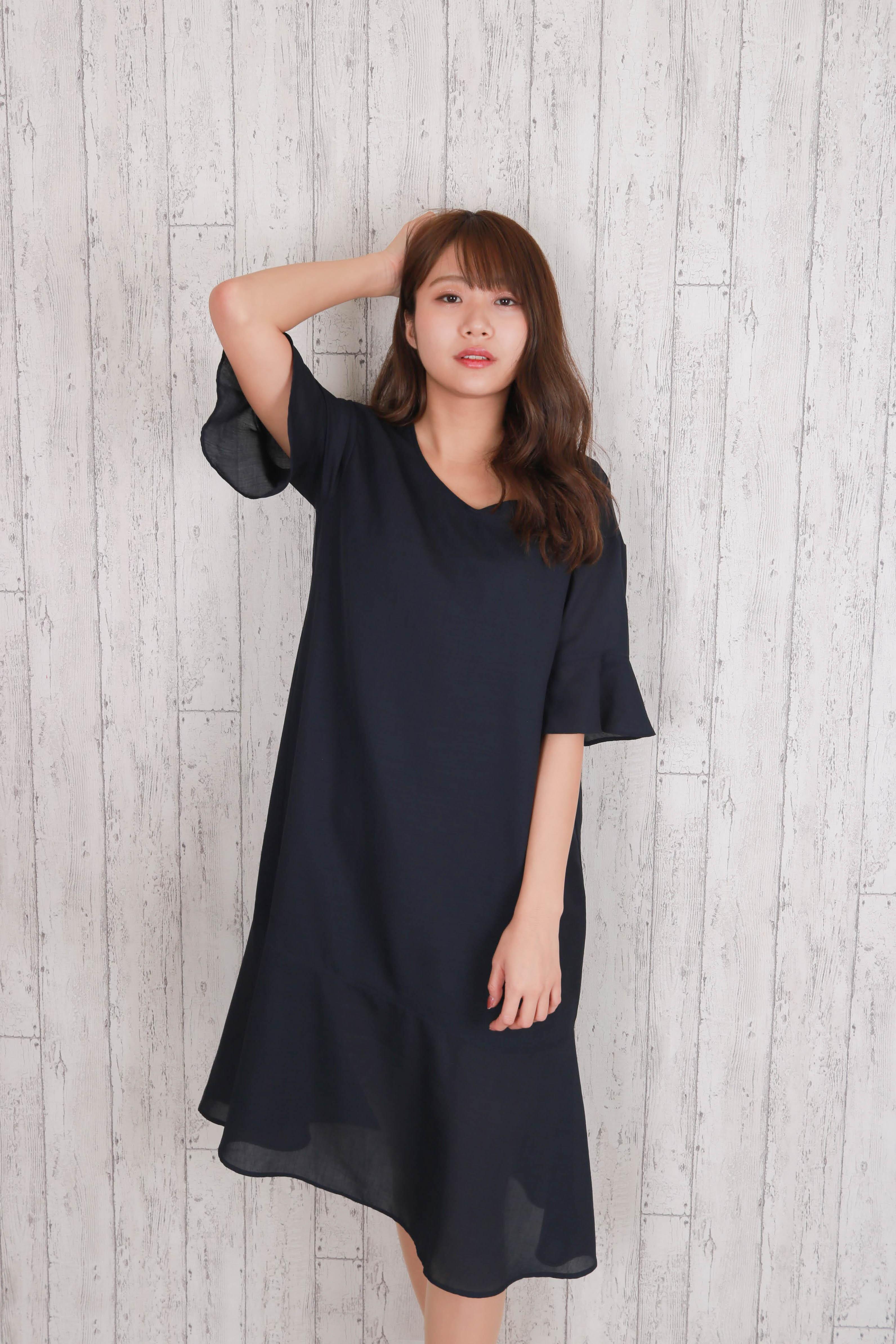 linen-like long flare dress