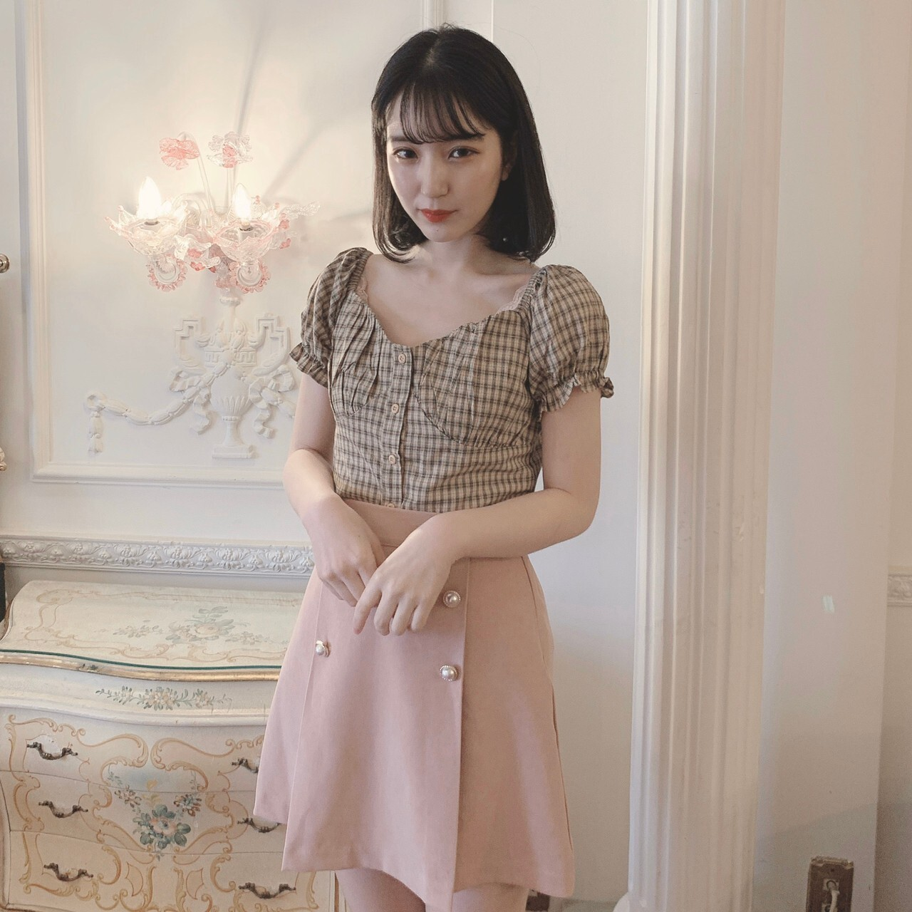 【meltie】puff check blouse