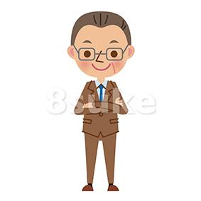 イラスト素材:腕組みをする中年のビジネスマン(ベクター・JPG)
