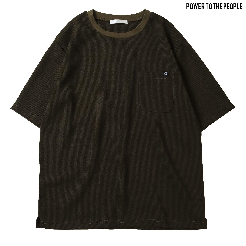 <速乾/軽量/ストレッチ性/接触冷感/イージーケア>サッカーストライプポケットTシャツ NO1501061