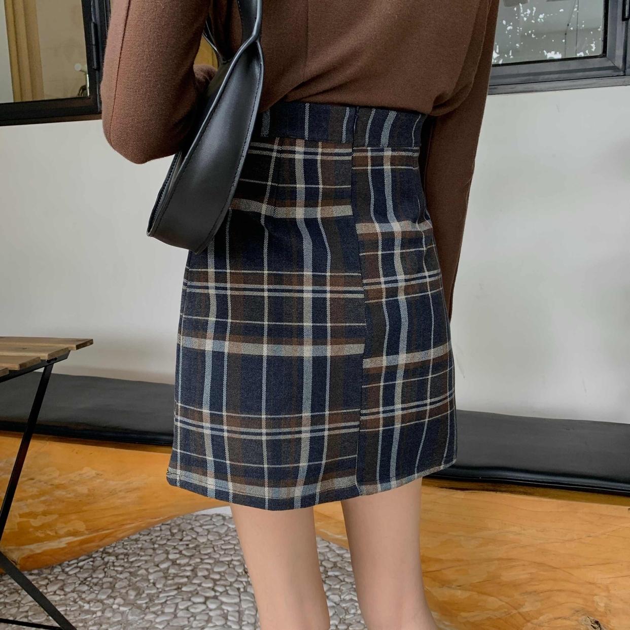 ビンテージチェックスカート  【vintage check skirt】