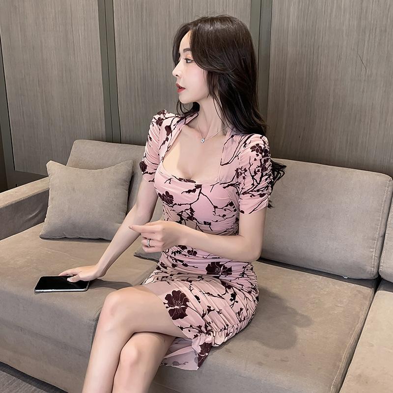 セクシー ドレス キャバ嬢  ミニドレス 花柄 かわいい 谷間 指名 MY2059