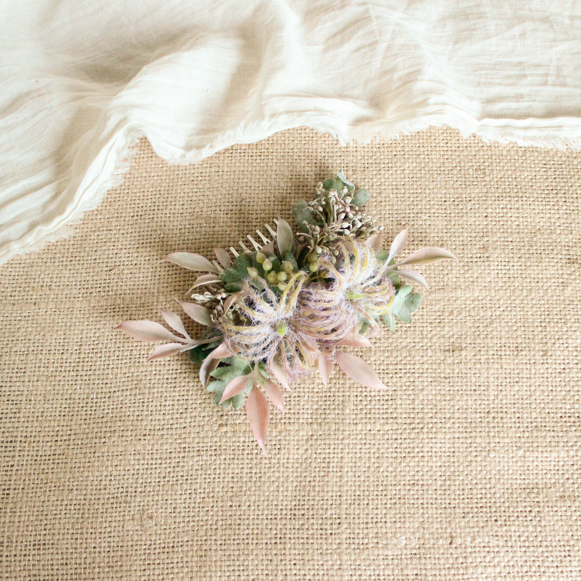 """Hair ornament for """"Pink protea Bouquet"""""""