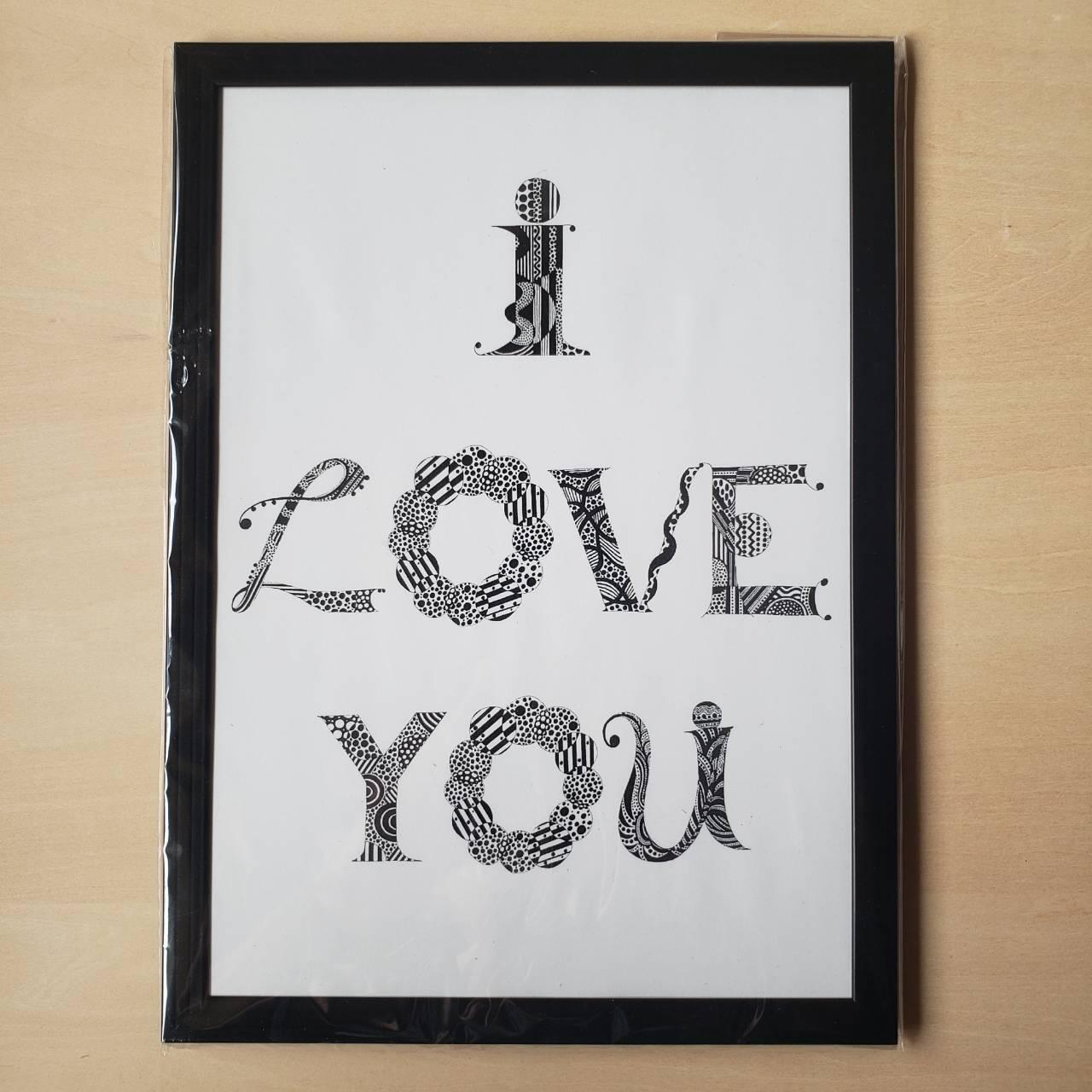 【A4ポスター・フレーム付・ブラック】I LOVE YOU(New Language, New Communication)