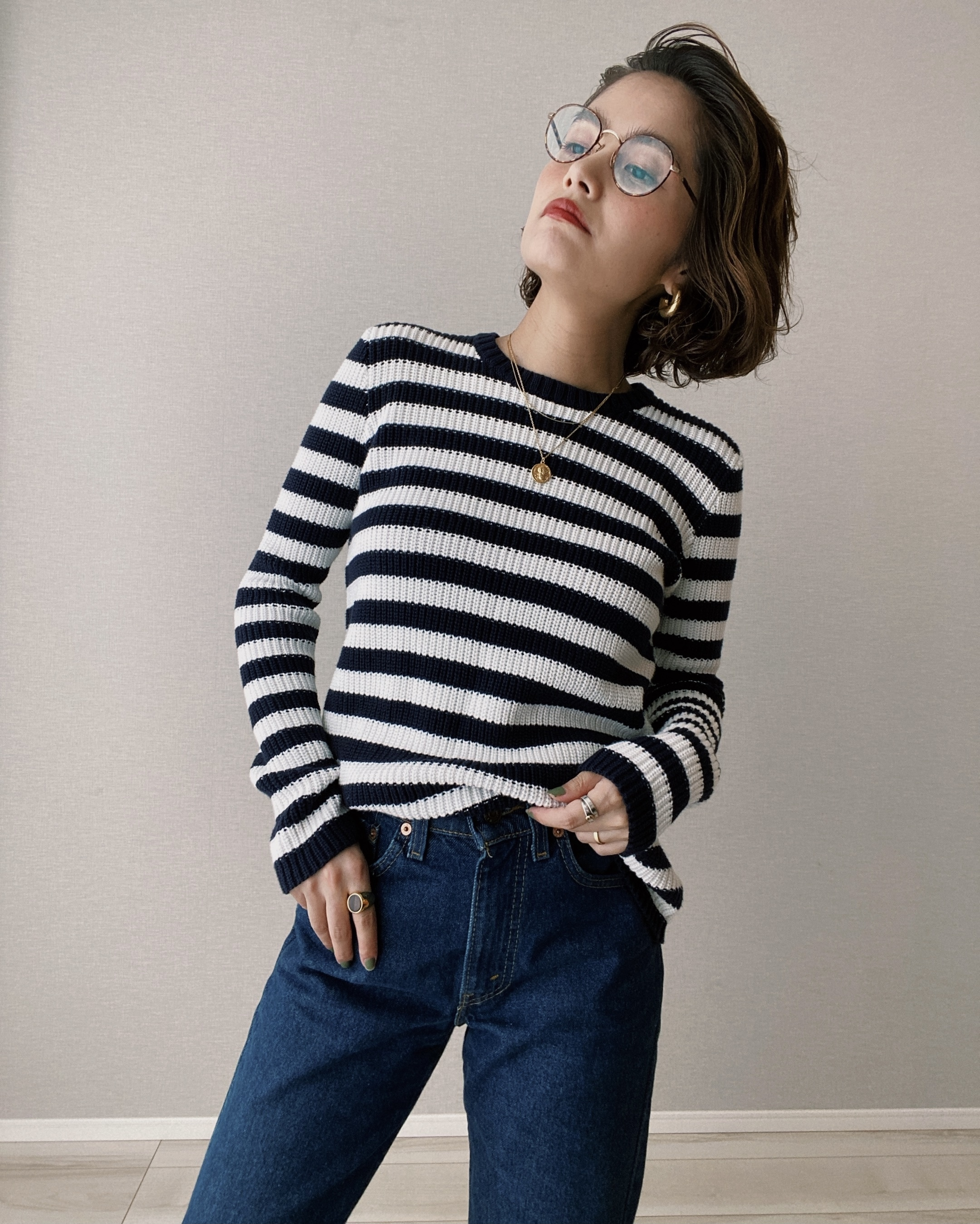 (KN145)Ralph Lauren border summer knit