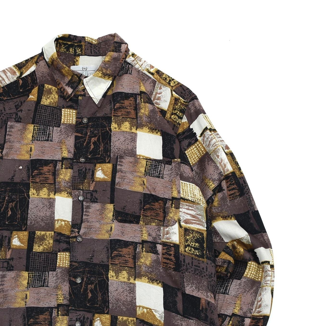 Geom. full pattern art design rayon shirt