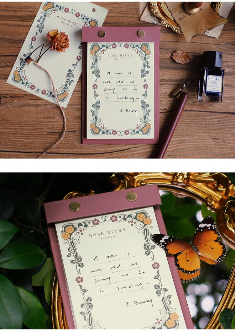 N27 メモ帳 全6種 レトロシリーズ 海外 台紙板付 きのこ 汽車 花柄 薔薇 ヴィンテージ
