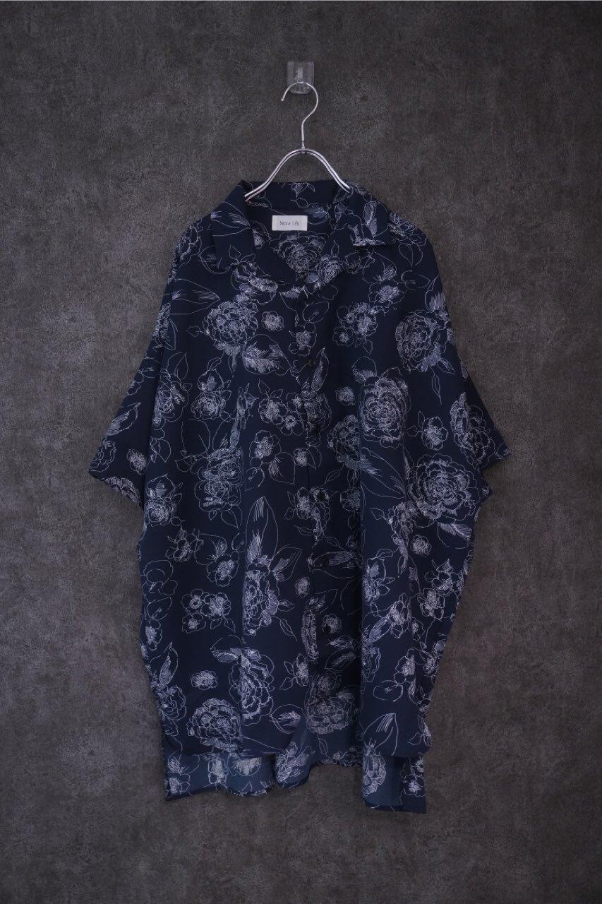 Pattern Open Collar S/S Over size Shirt -Flower navy