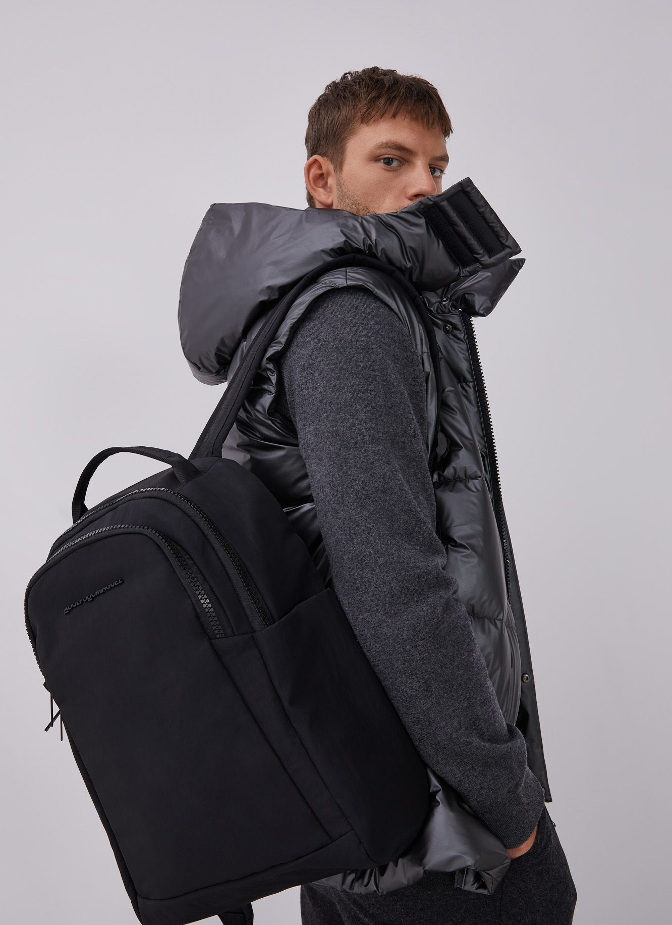 NYLON BACKPACK WITH DOUBLE COMPARTMENT