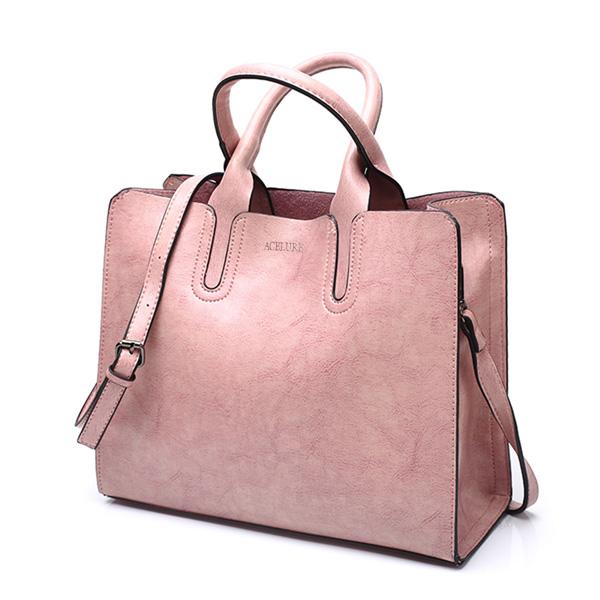 レディース PUレザーショルダーバッグ 毎日のショッピングに最適 トートバッグ ハンドバッグ pink