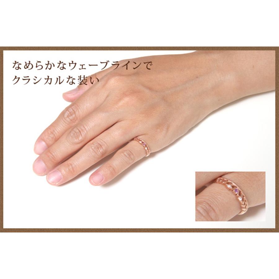 ★送料無料★【me on...】◆K10ホワイトゴールド◆アメジスト&ダイヤモンド・ティアラモチーフピンキーリング