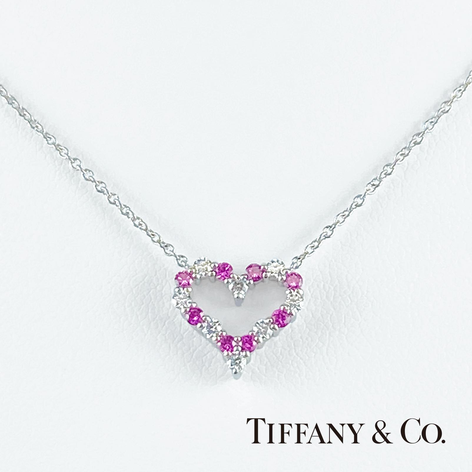 TIFFANY&Co. ティファニー センチメンタルハート ダイヤ/ピンクサファイア レディース PT950 ネックレス
