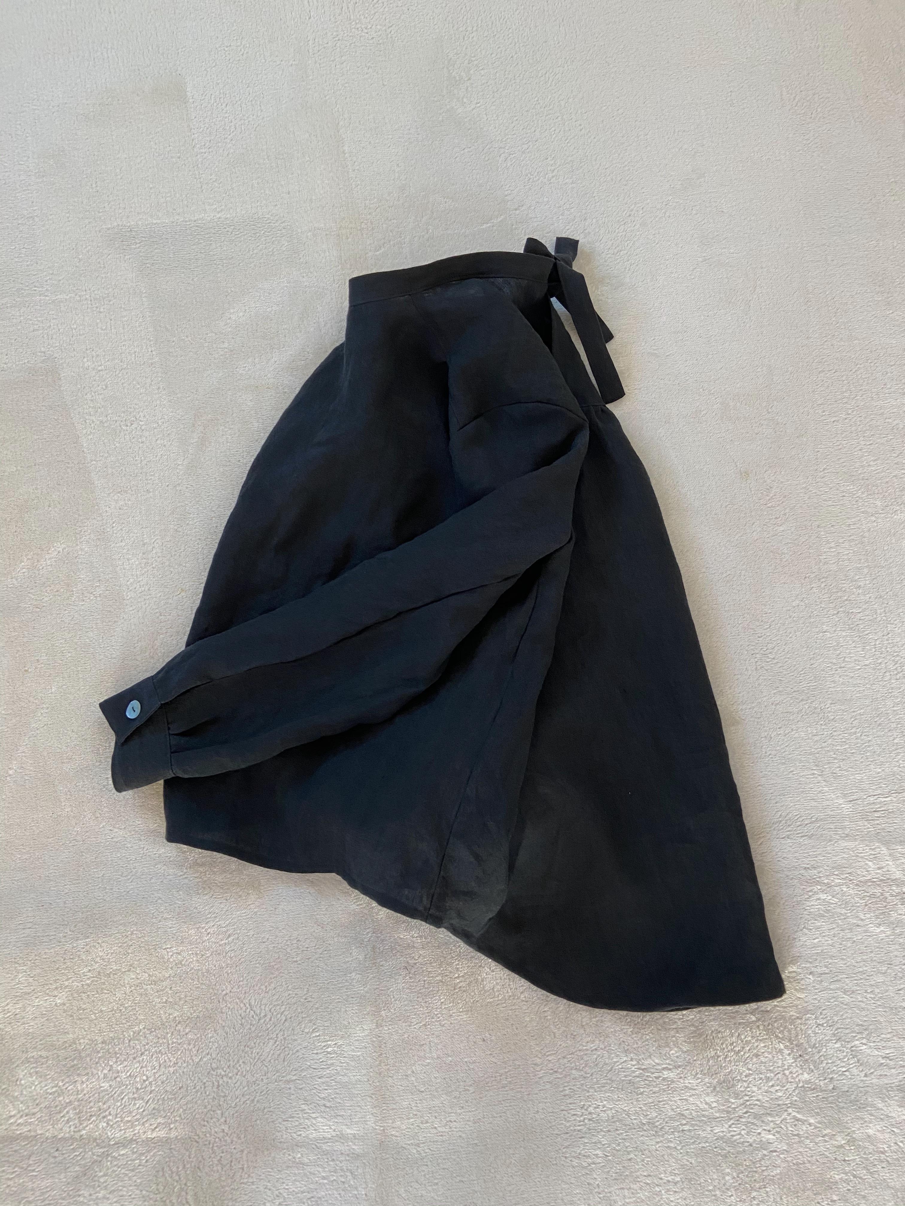【次回製作未定】BLACK LINEN SHIRT(RIBBON)