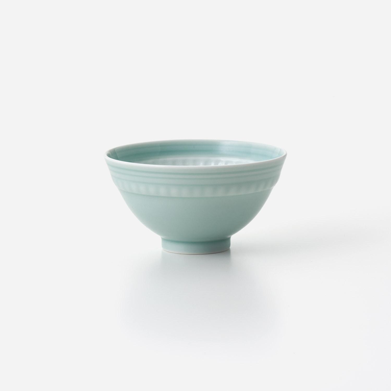 青磁印花 飯碗 (小)