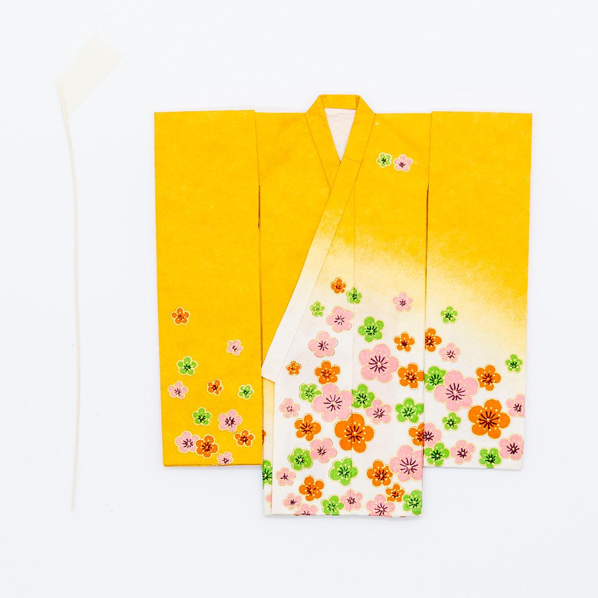 京の七夕さん(紙衣)お仕立上がり 女物柄 黄色