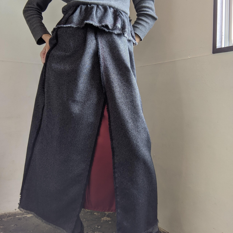 【 REHERSALL 】リハーズオール / ツイードフリンジスカート/  ダークグレー / dark grey / ロングスカート