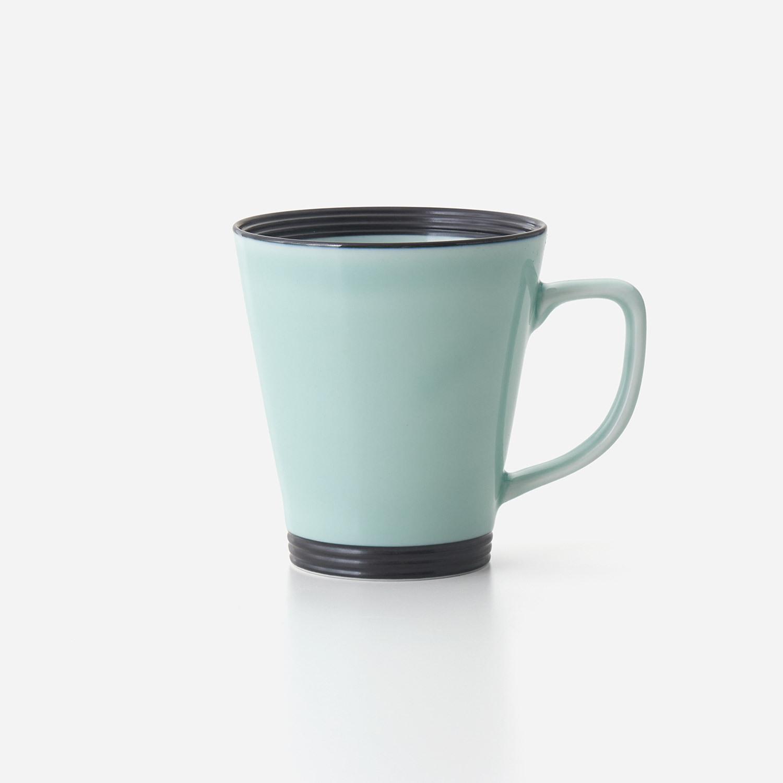 No.126 青磁黒彩 広口長マグカップ