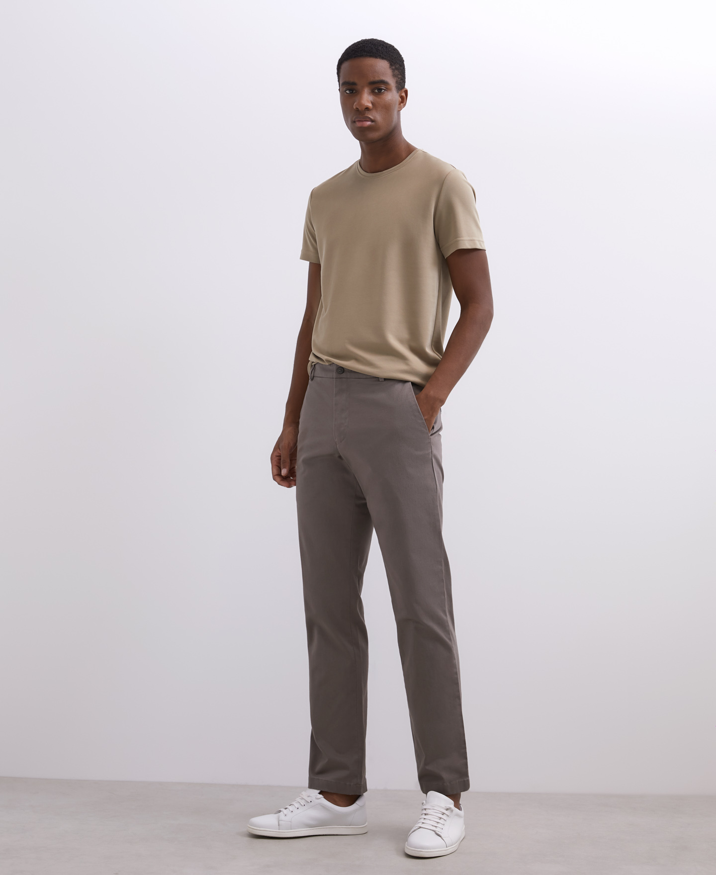 ELASTIC COTTON CHINO TROUSERS [168561259411]