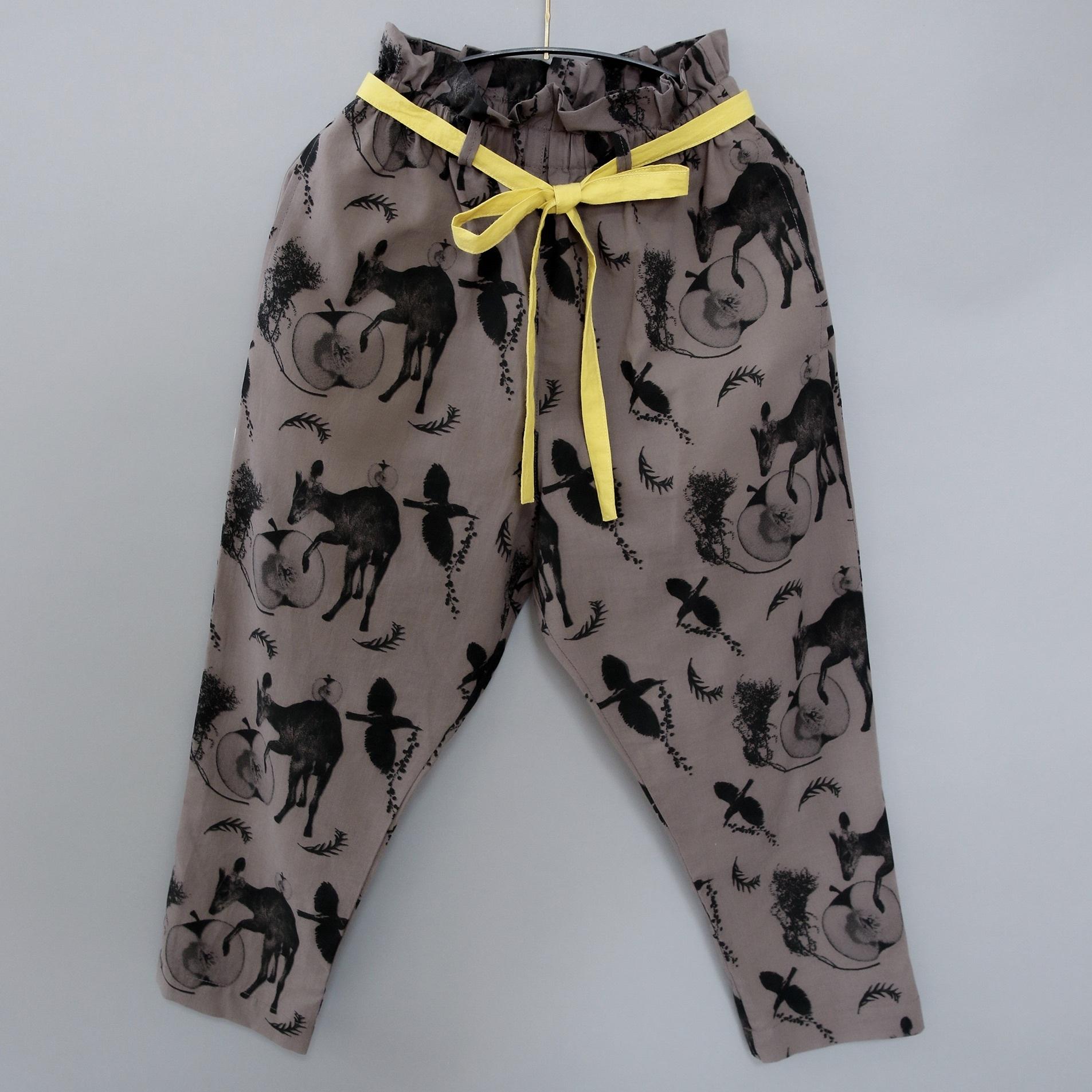 《michirico 2021SS》Flora and fauna pants / charcoal / L・XL・XXL
