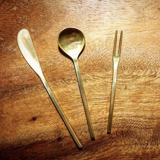 bullet brass cake fork | 真鍮ケーキフォーク