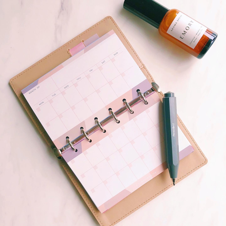 【新作】月間カレンダー / ミニ6 / グレーベージュ(システム手帳リフィル)