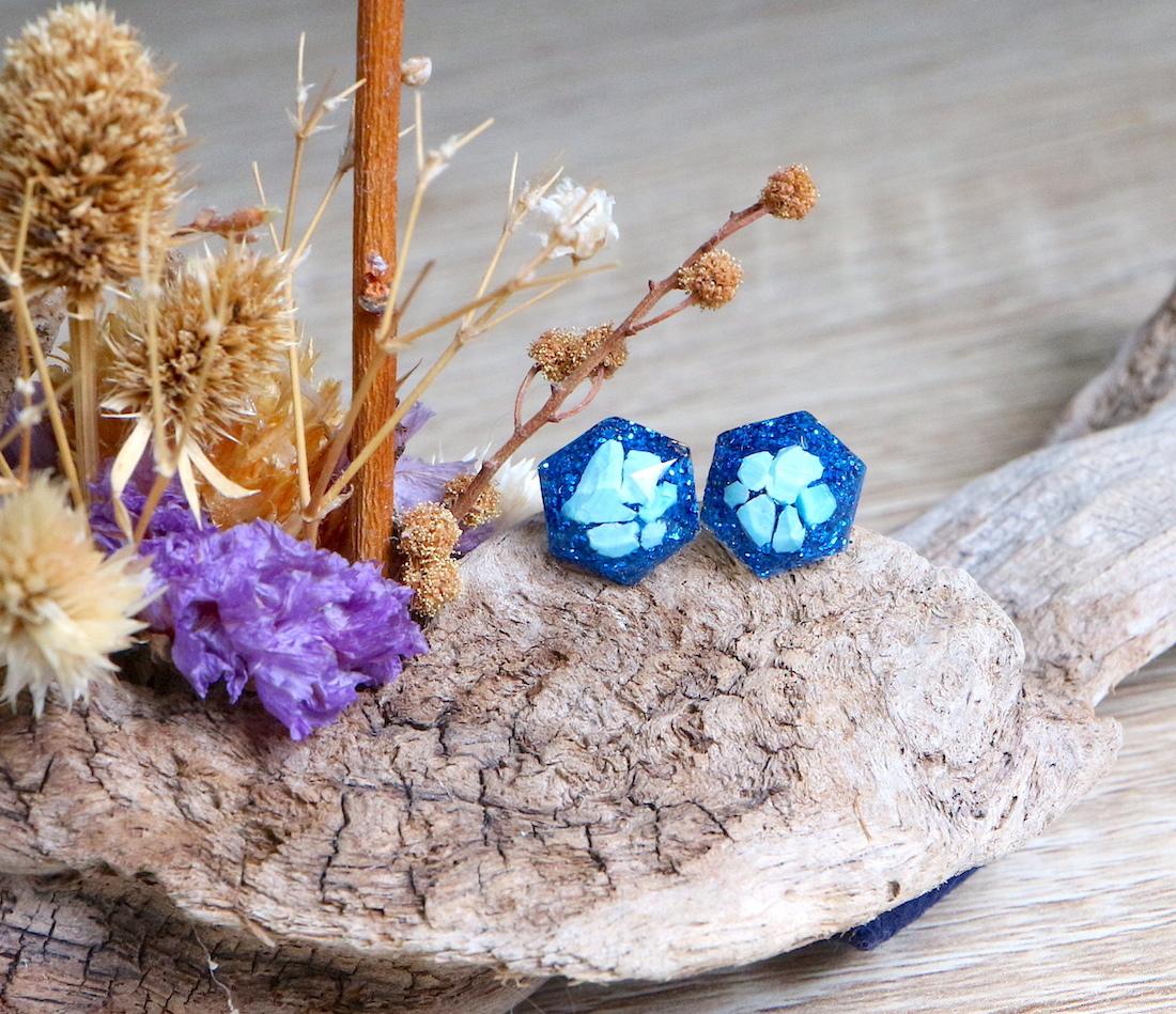 ターコイズ ヘキサゴン ♦︎ 原石ピアス/イヤリング ブルー 天然石 トルコ石