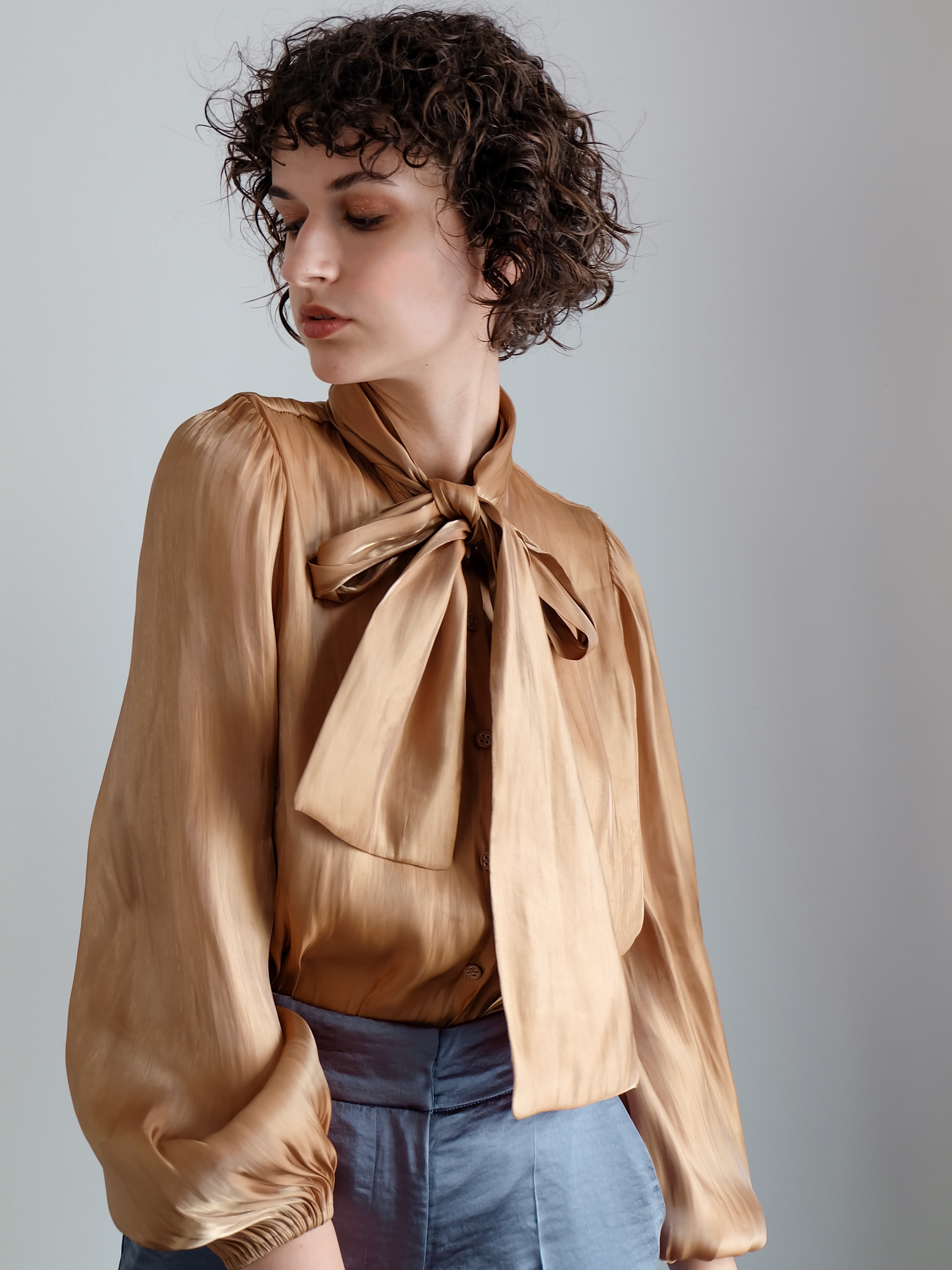 shimmer bowtie blouse(brown)