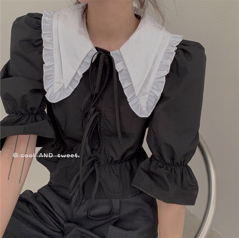 front ribbon collar top 2color