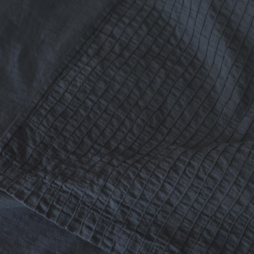 prit プリット ハイゲージ天竺xタックストライプ切替5分袖アシンメトリーワイドTシャツ・ブラック