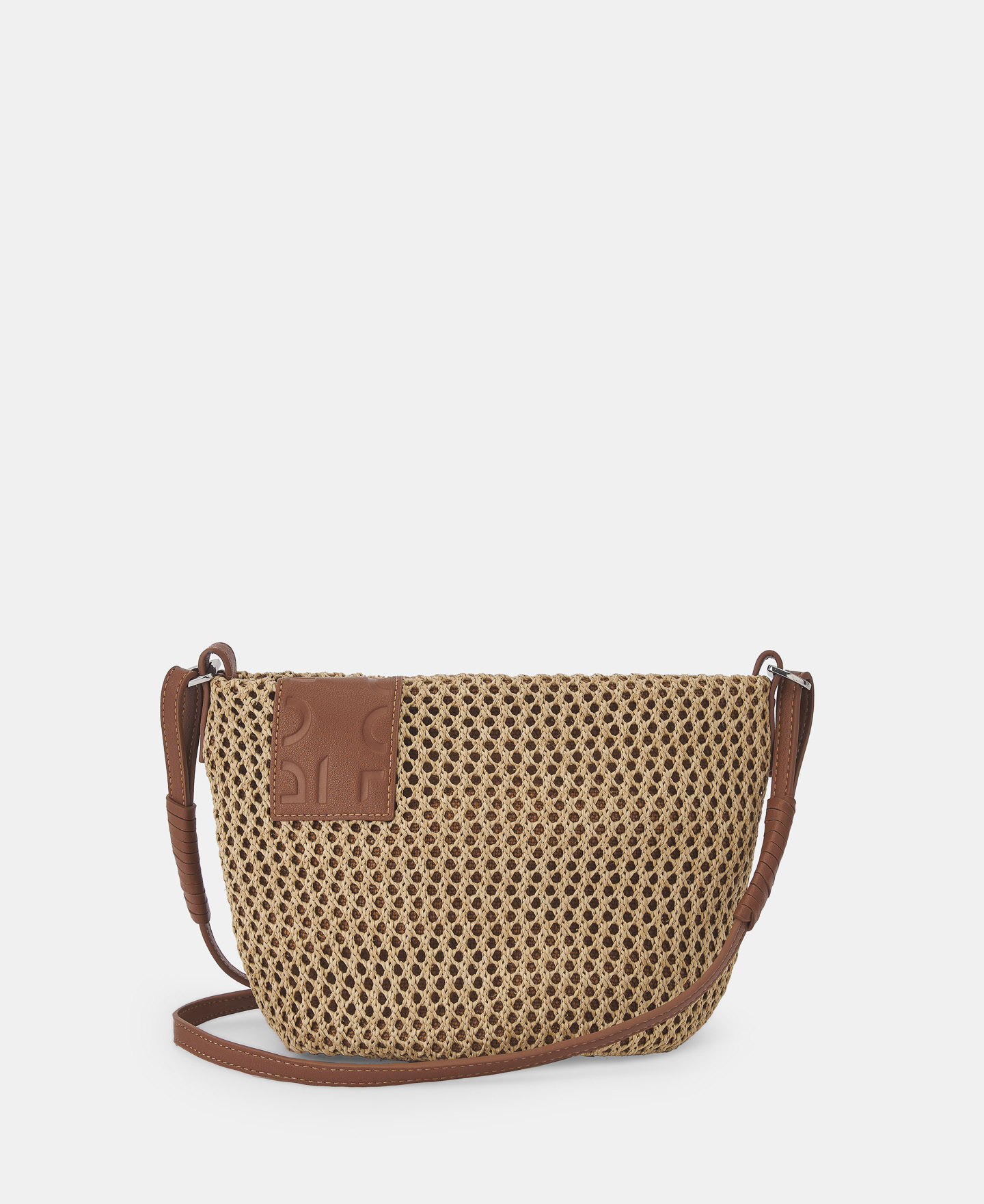 OPENWORK RAFFIA CAMEL SHOULDER BAG  [212591634111]