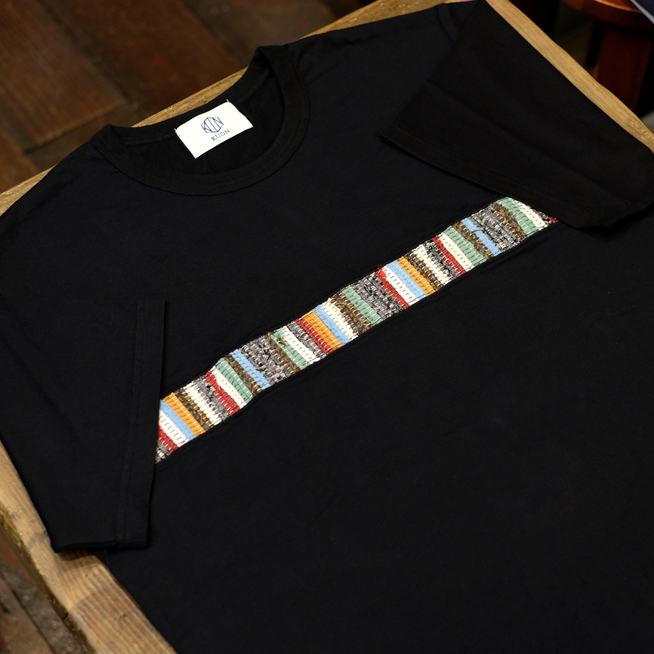 KUON(クオン) ライン裂き終りTシャツ ブラック