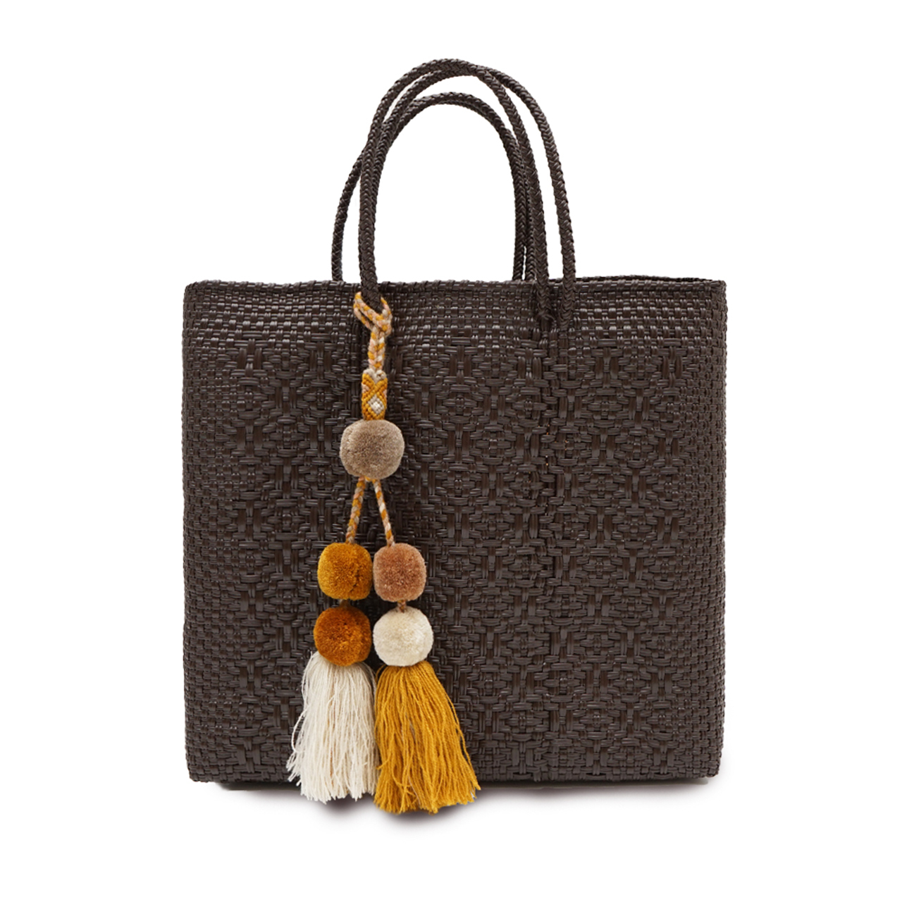 MERCADO BAG ROMBO with POMPON - BROWN(M) with YELLOWBEIGE MIX