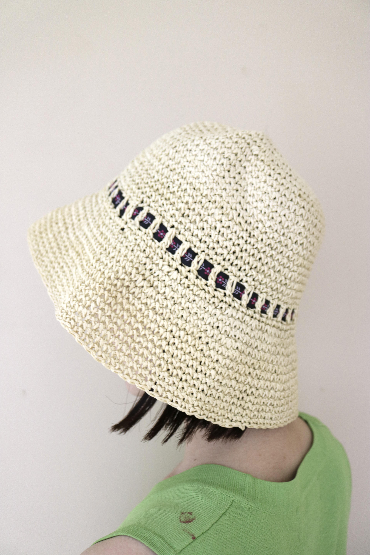 straw ribbon design hat / 6SSGD19-43