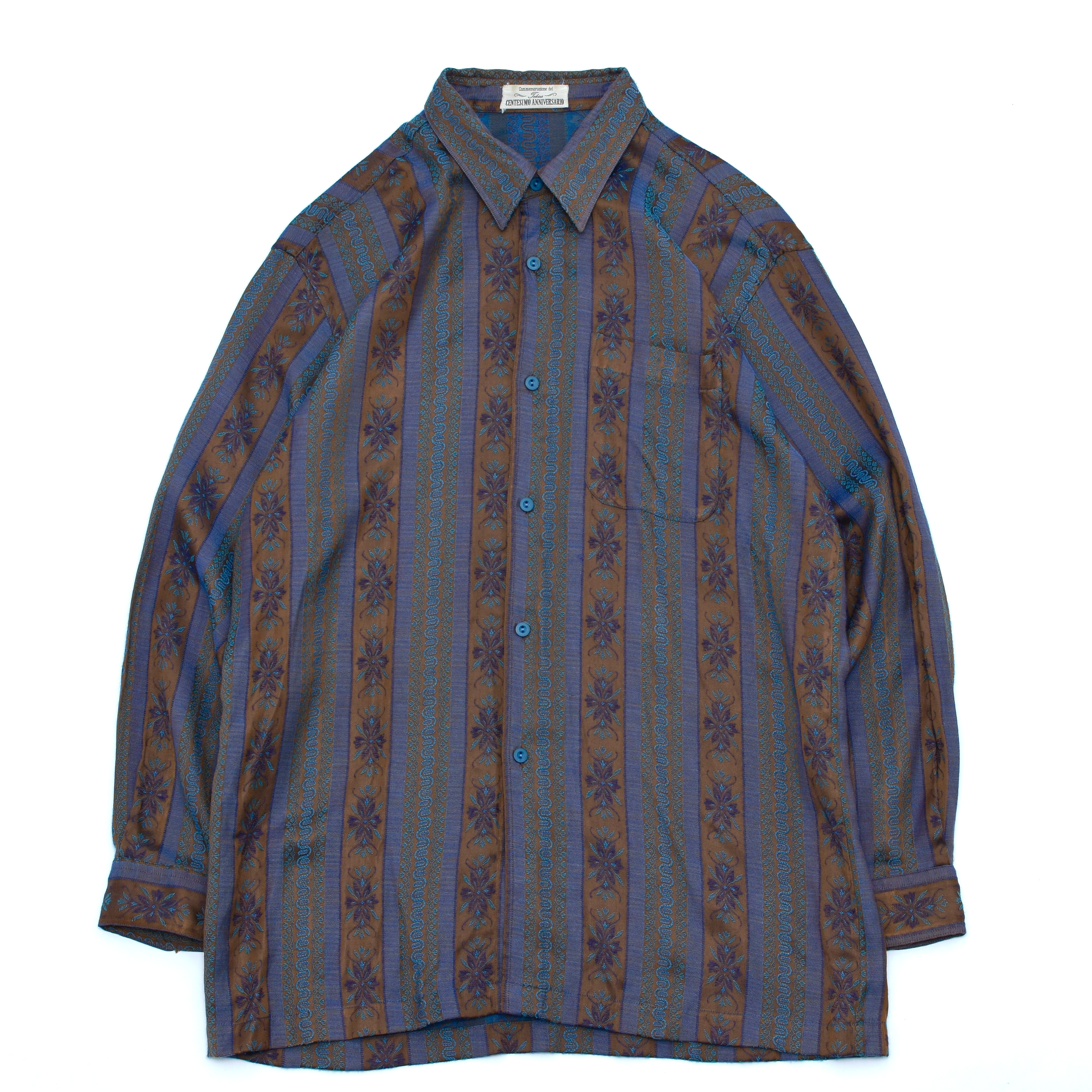 Antique flower stripe tapestry shirt
