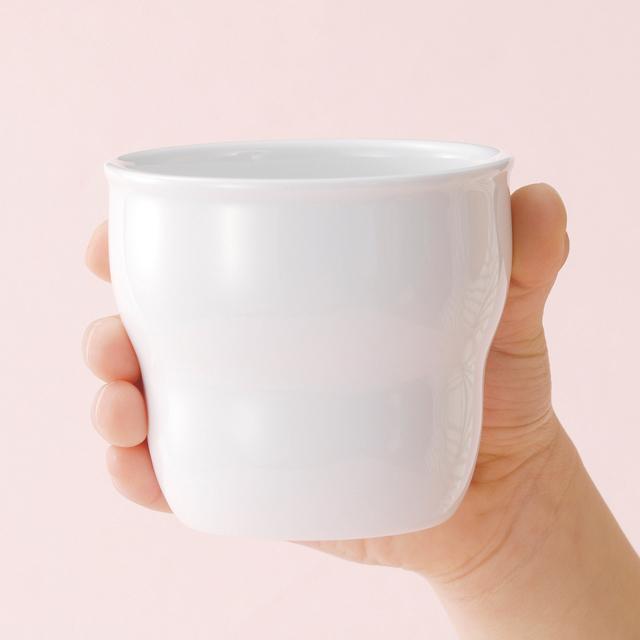 持ちやすい幼児用カップ(φ7.4cm×H6.6cm/満水170ml) 強化磁器 白無地【2025-0000】