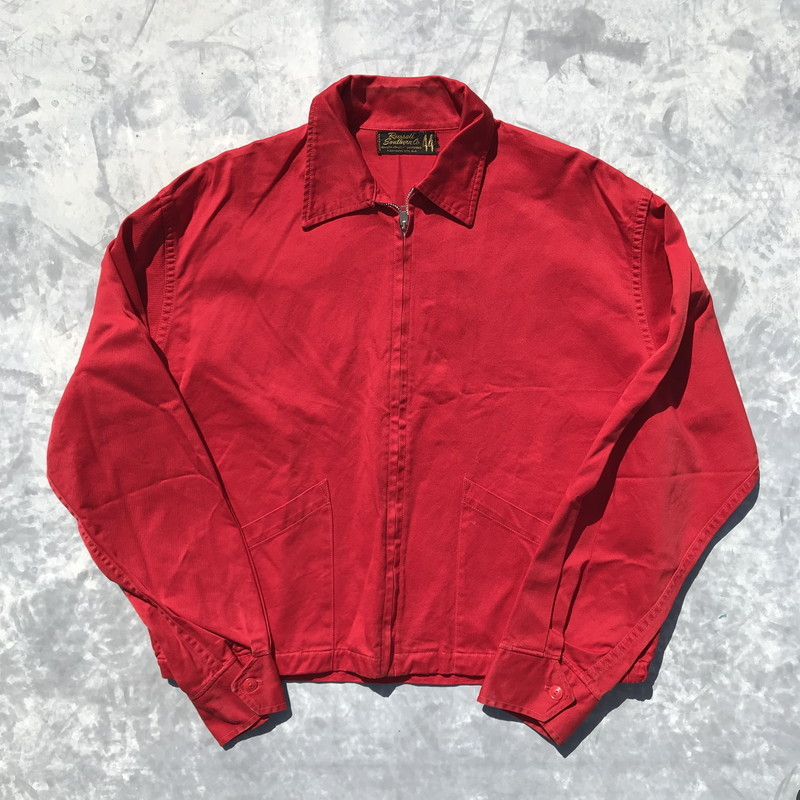 60's 70's Russell Southern ラッセルサザン コットン スウィングトップジャケット 赤 プレーン CONMATIC ジェームスディーン ヴィンテージ SIZE 44