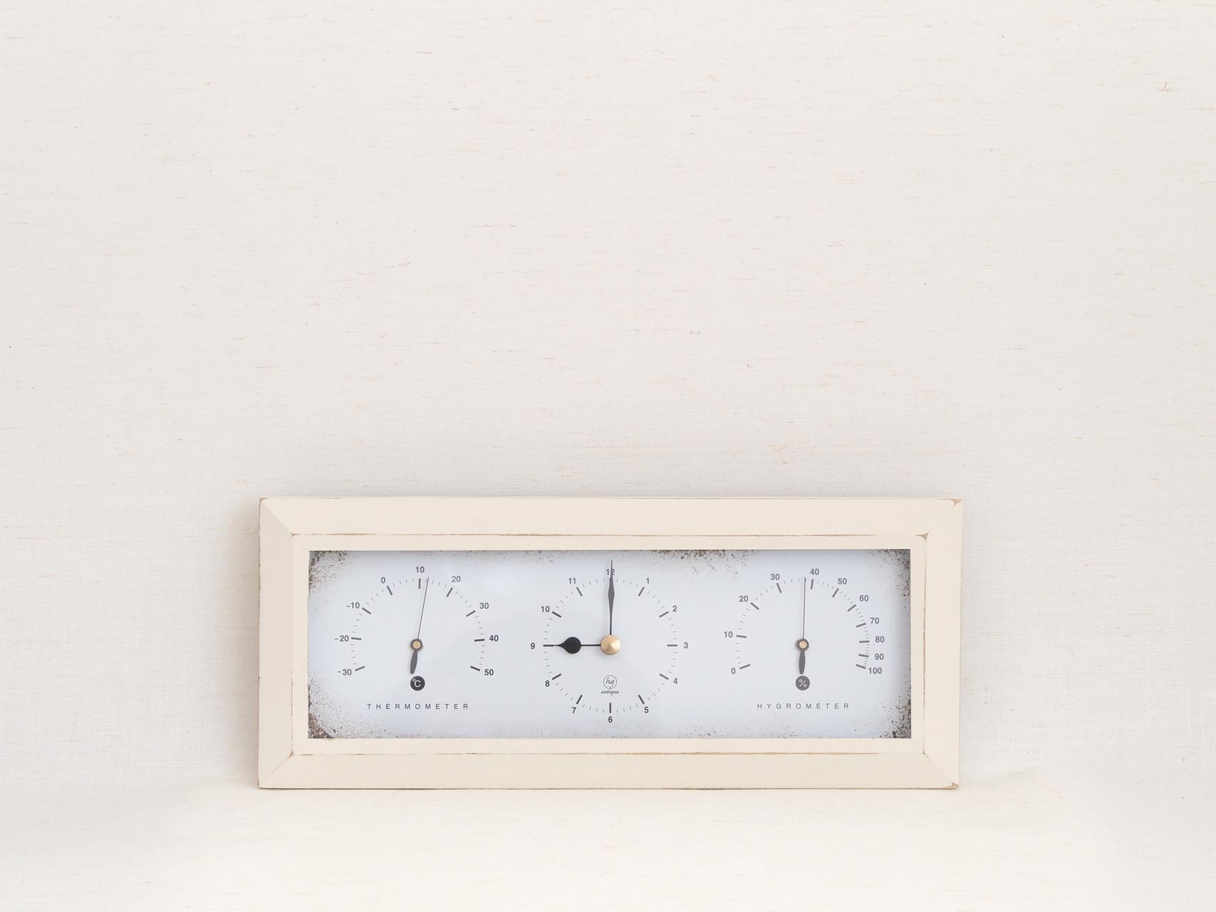 HAKARU ハカル / 温湿度計 時計 Antique Clock アンティーククロック 横型 壁掛け 置き時計 アイボリー YTL-902