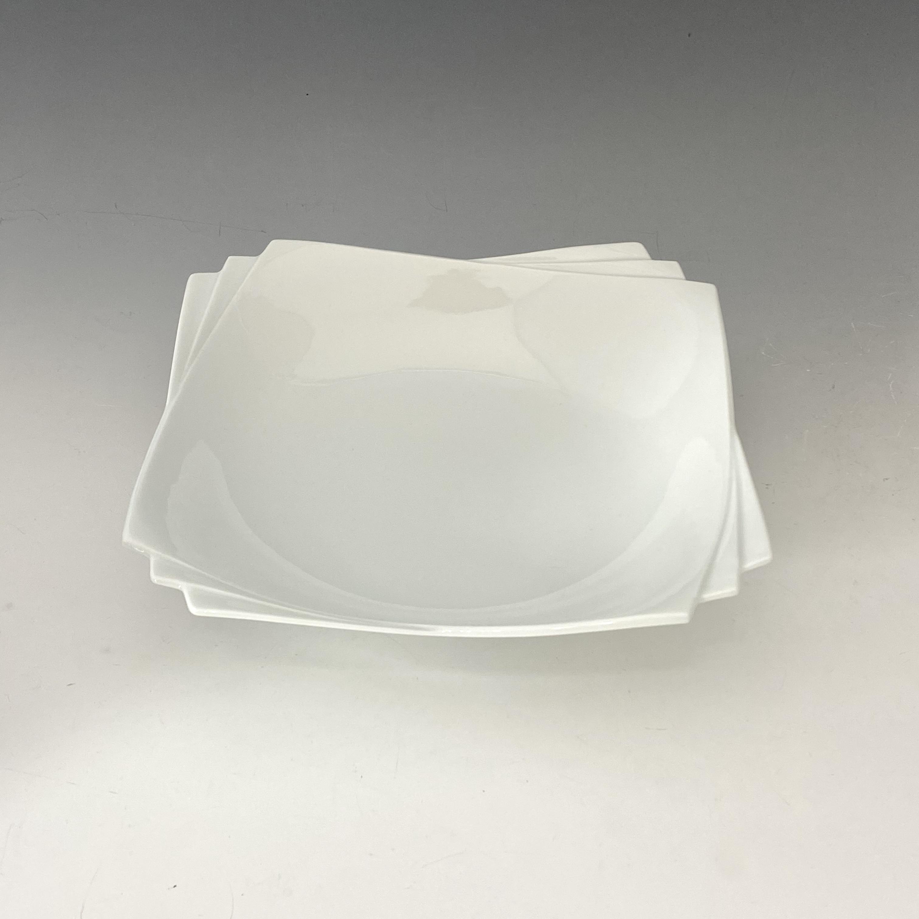 【中尾純】白磁縁重角鉢