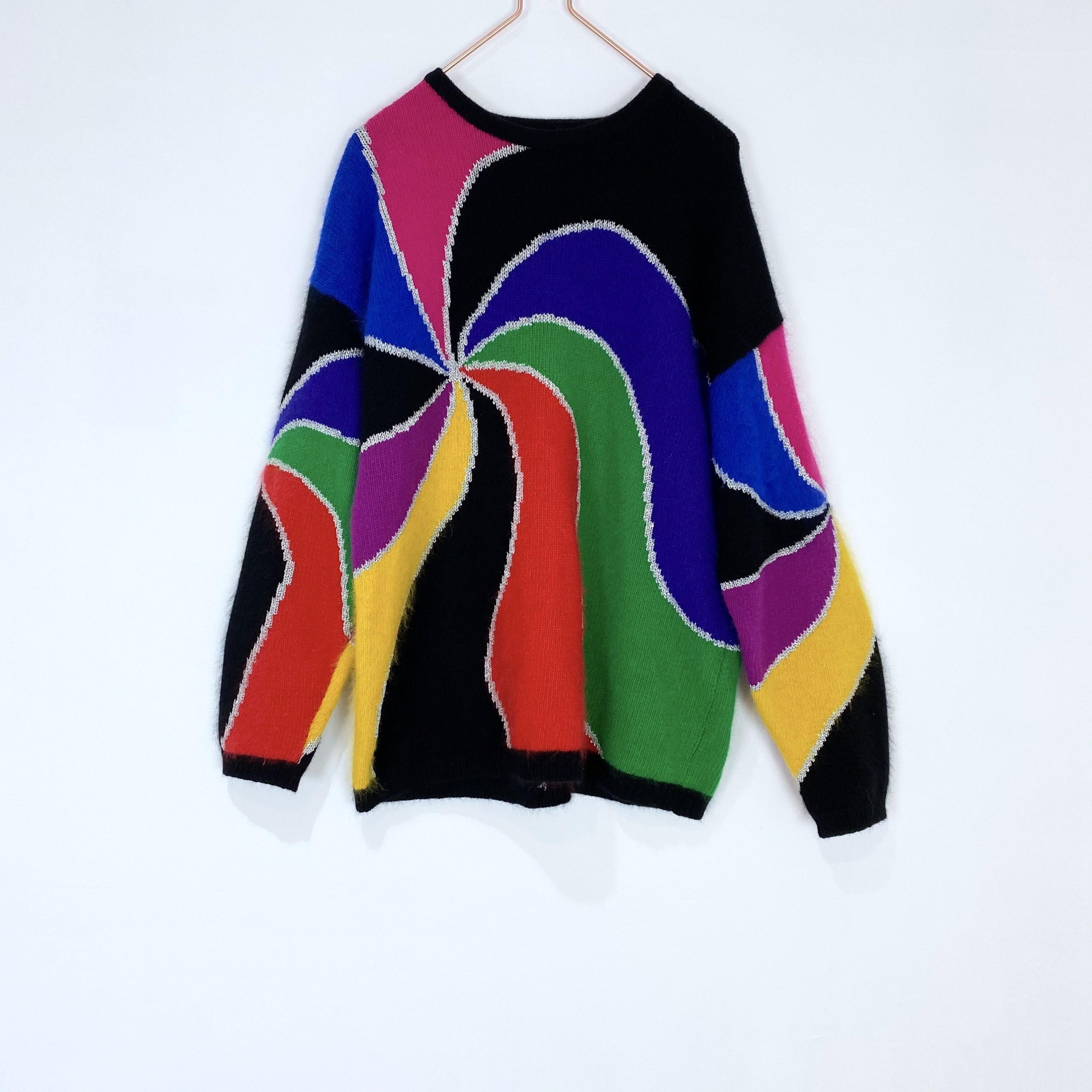 ◼︎80s vintage angola blend tornado sweater from U.S.A.◼︎