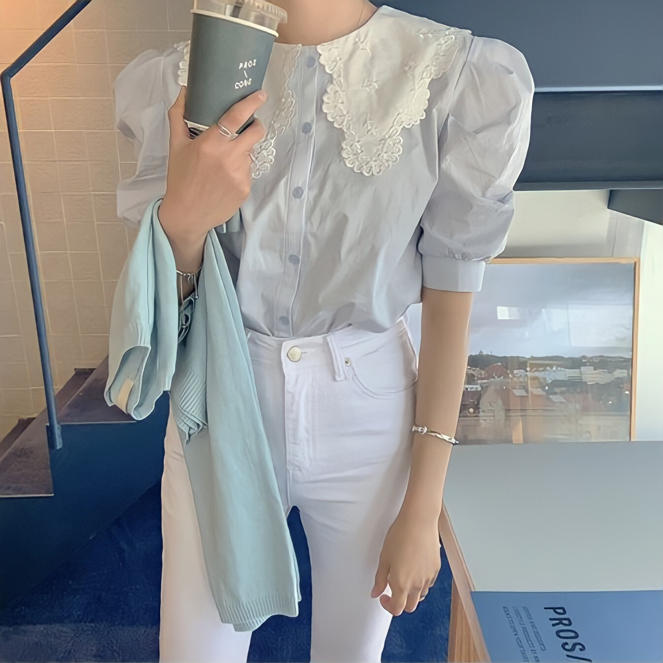 scallop lace collar blouse