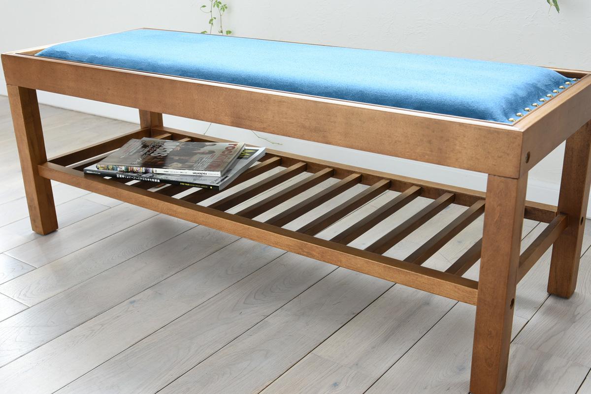 JP Modern Bench Chair BL / 和モダンスタイル 和モダン ベンチチェア / ブルー