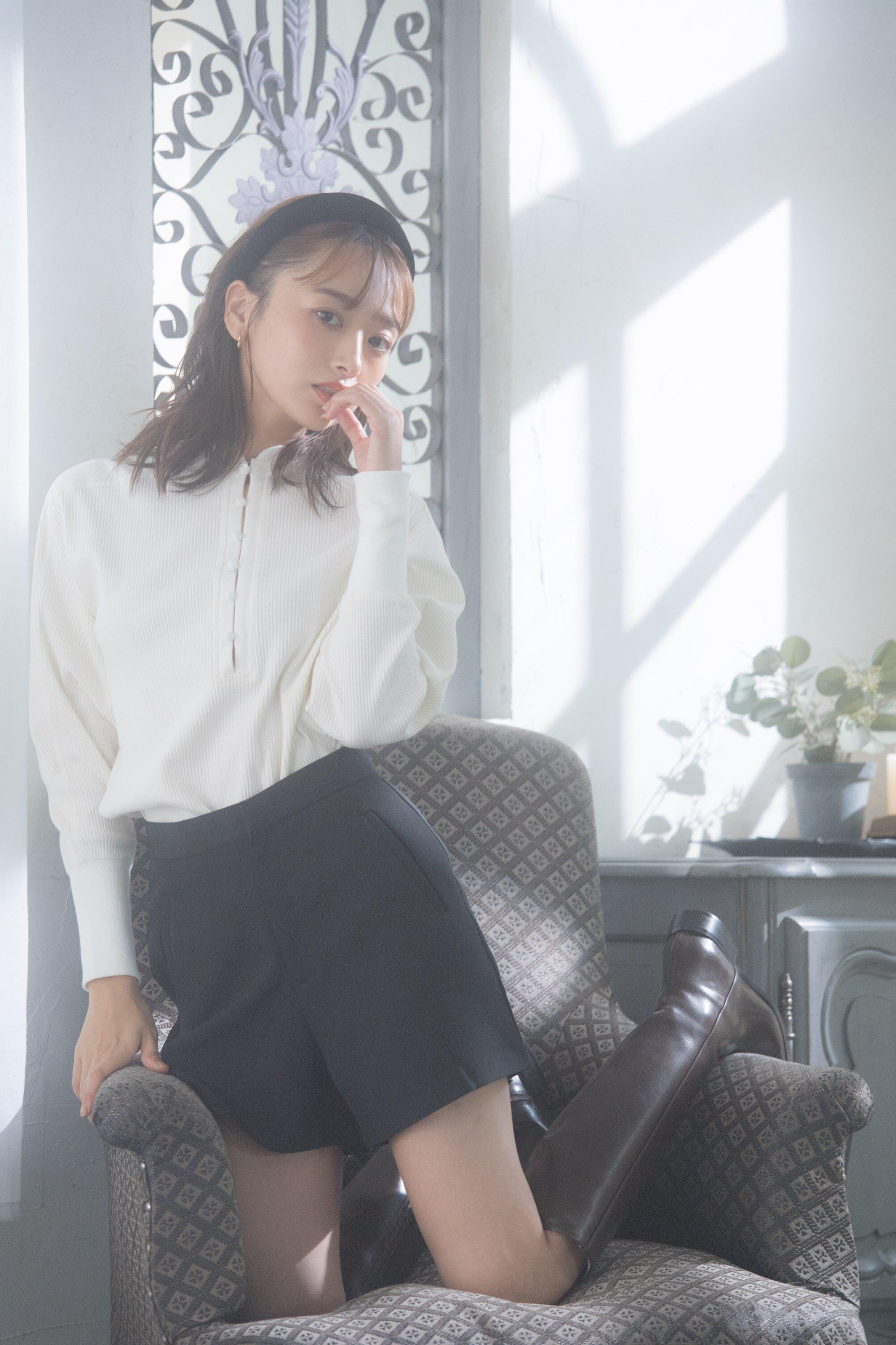 【original】rib kurumi button neck tops