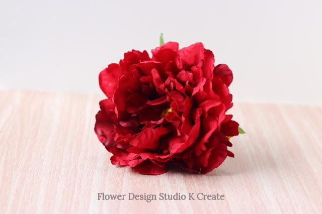 赤いピオニーのヘッドドレス 赤 芍薬 ダンス 髪飾り レッド フラメンコ レッド