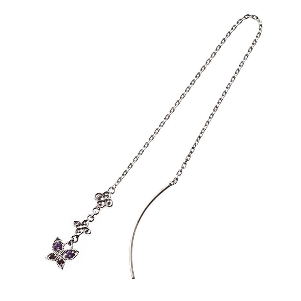 バタフライアメリカンチェーンピアス シルバーピアス 片耳分 AKE0083 Butterfly American Chain Earrings Silver Earrings One Ear