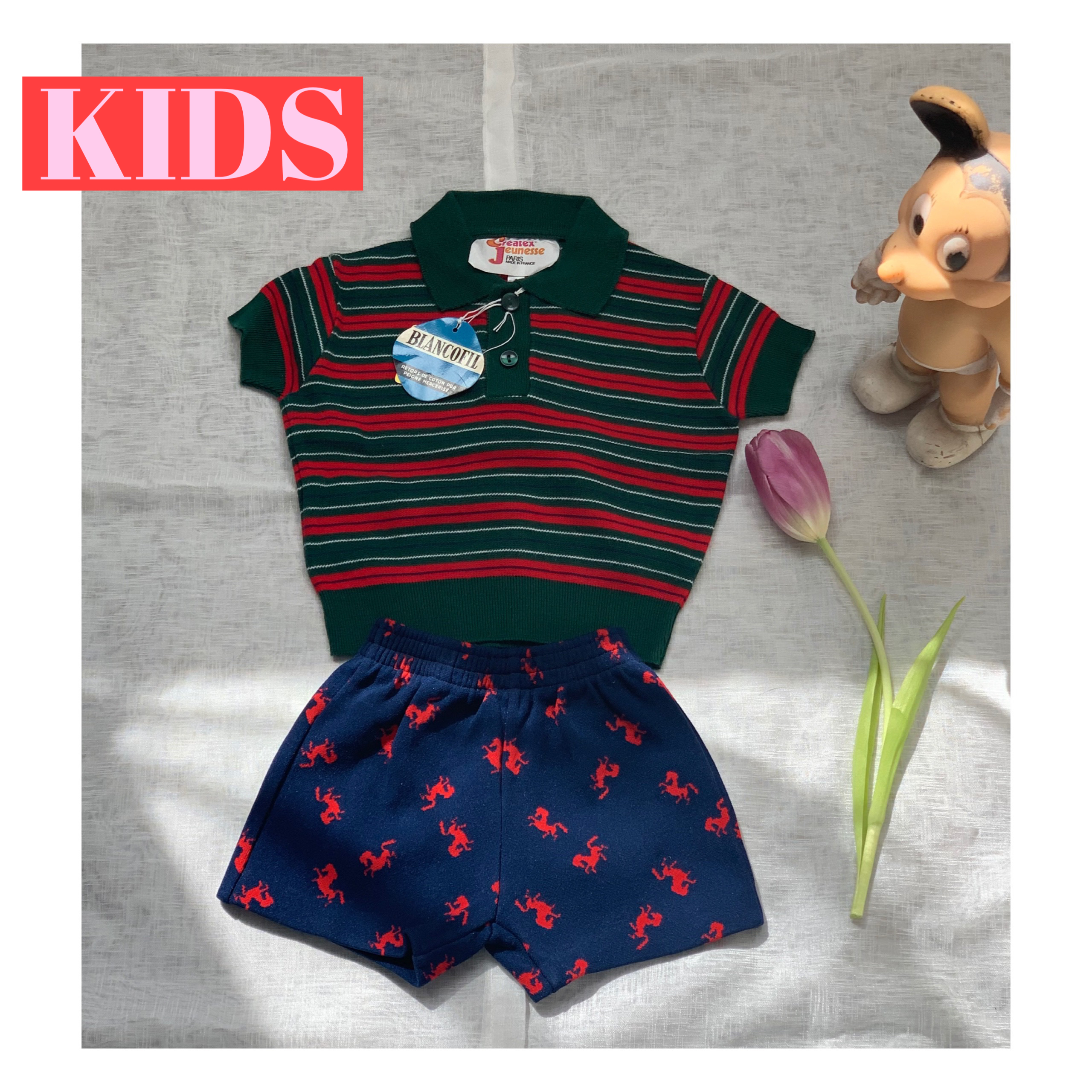 【KIDS】70's 〈Createx Jeunesse〉Striped Cotton Polo Top - French - Size 9 months old-