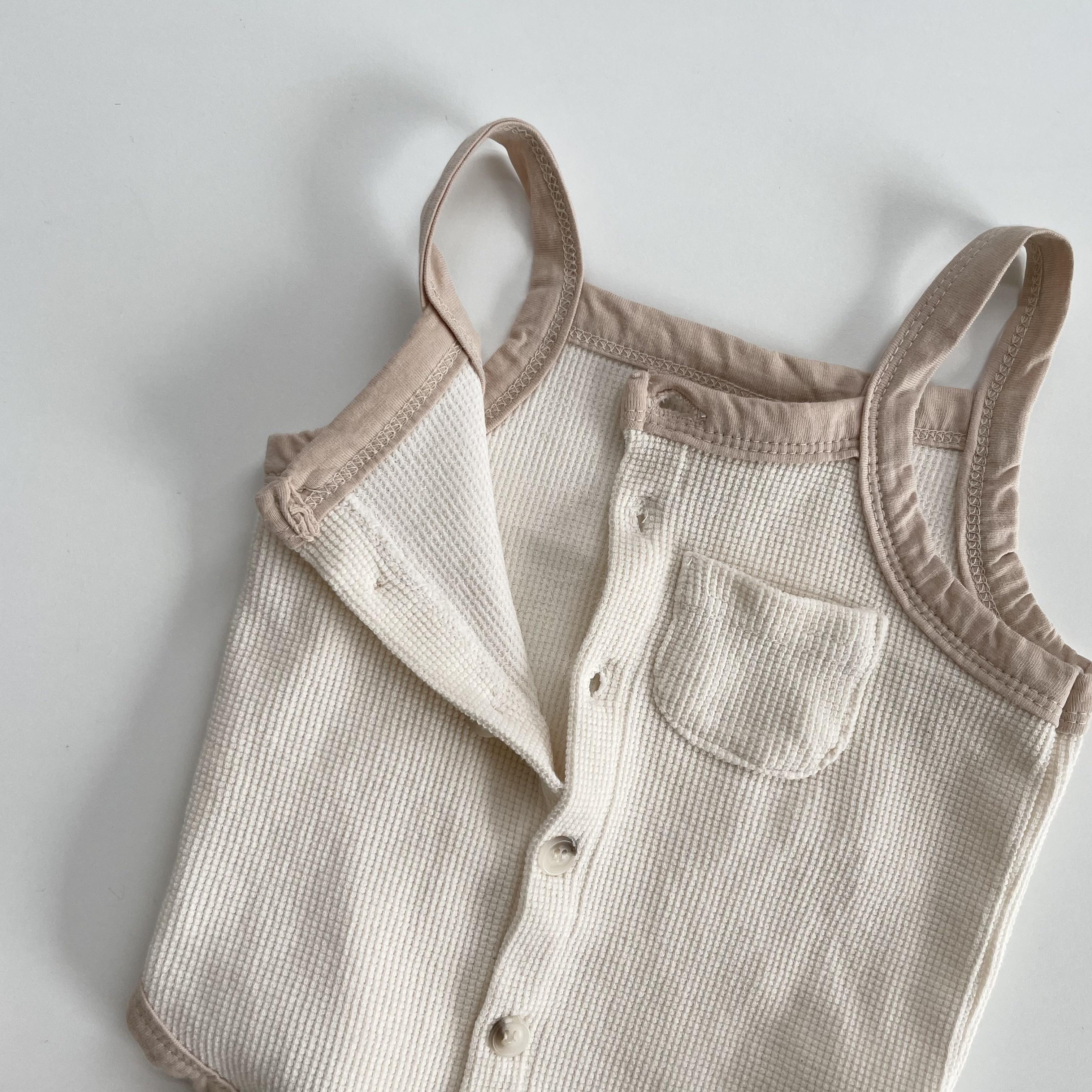NO.1427. bi-color cami rompers / Mini beige
