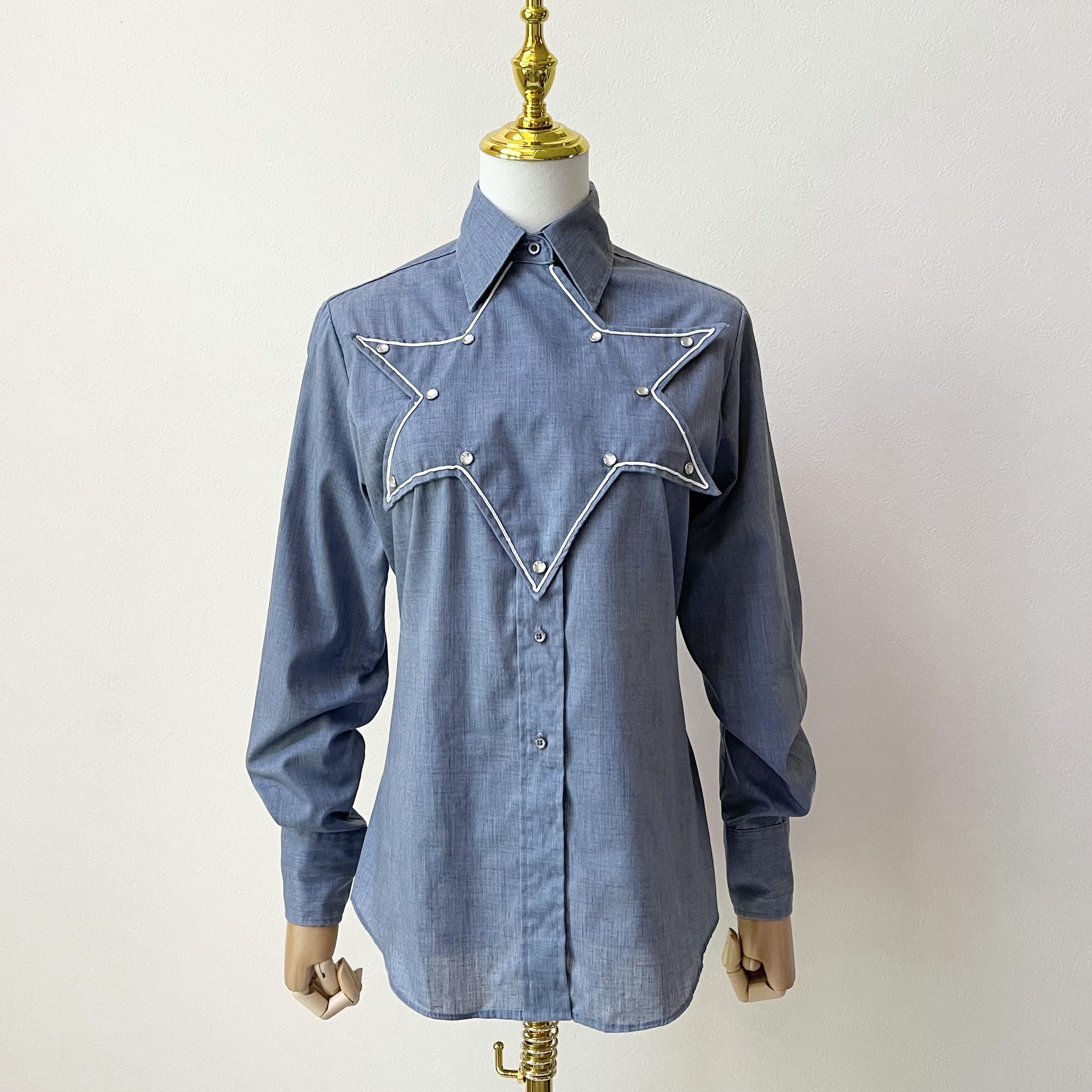 80年代 USA製 ヴィンテージ 星形デザイン ウエスタンシャツ M〜 L