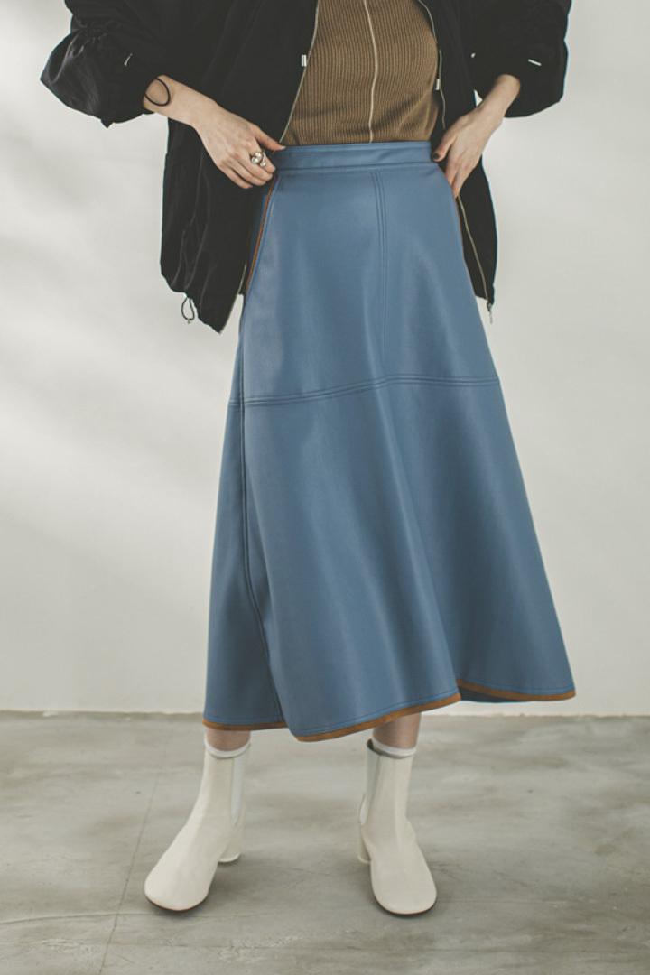 エコレザースカート < ライトブルー >